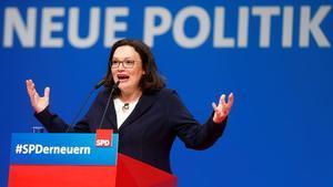 Andrea Nahles, en el congreso del SPD en Wiesbaden.