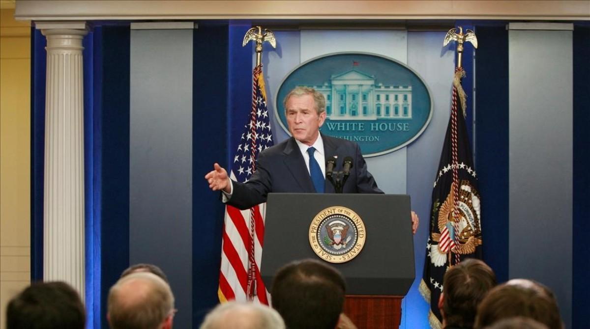 George W. Bush en su última rueda de prensa como presidente de Estados Unidos en el 2009.