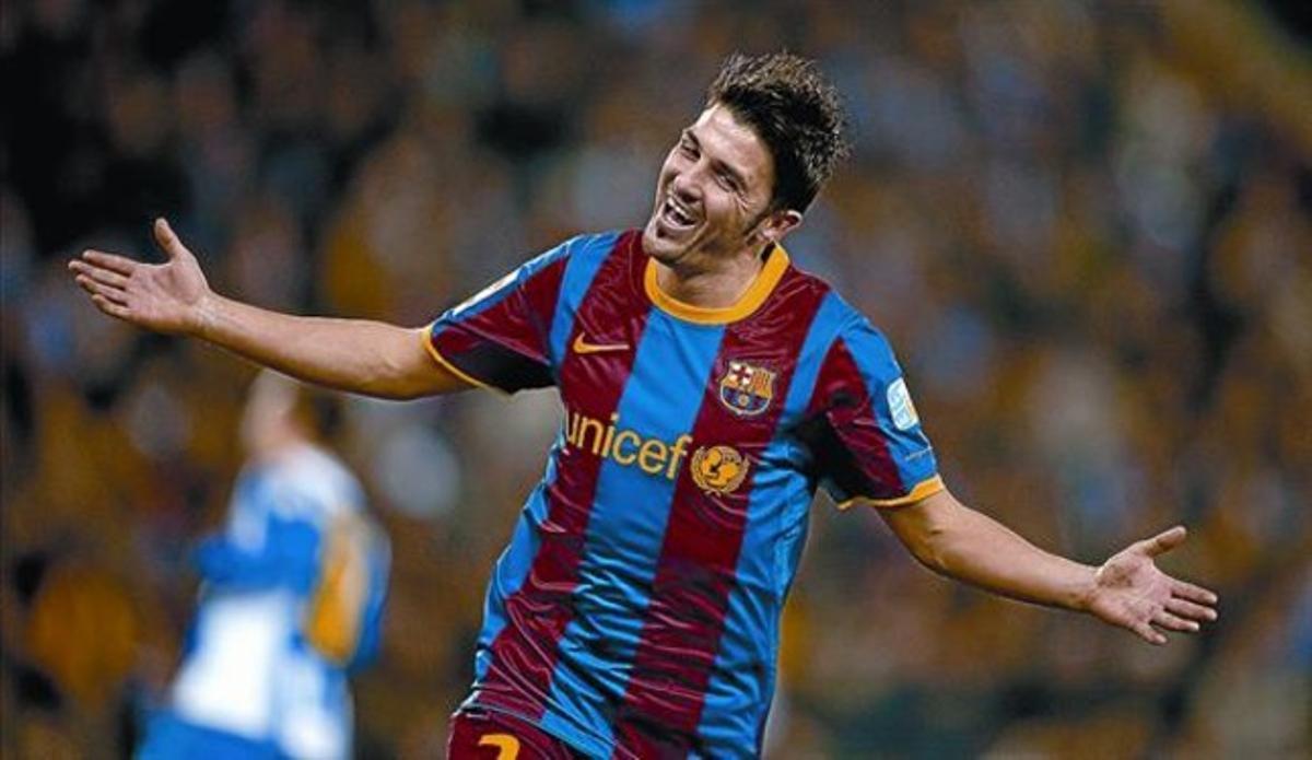 Villa celebra el quinto gol azulgrana, el segundo de su cuenta, el sábado.
