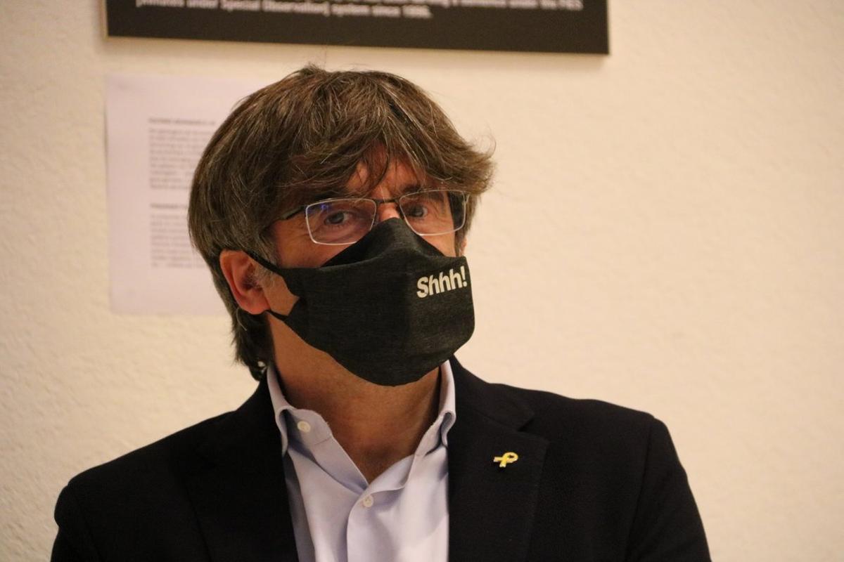 Carles Puigdemont, durante un acto de la ANC en Bruselas, el 5 de septiembre.