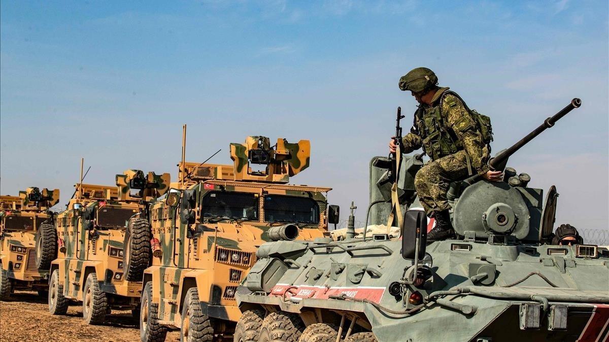 Vehículos militares de Turquía en Siria.