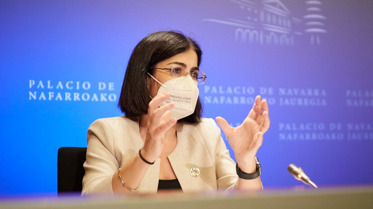 La ministra de Sanidad, Carolina Darias, tras presidir desde Pamplona el pleno telemático del Consejo Interterritorial del Sistema Nacional de Salud, el pasado día 2.