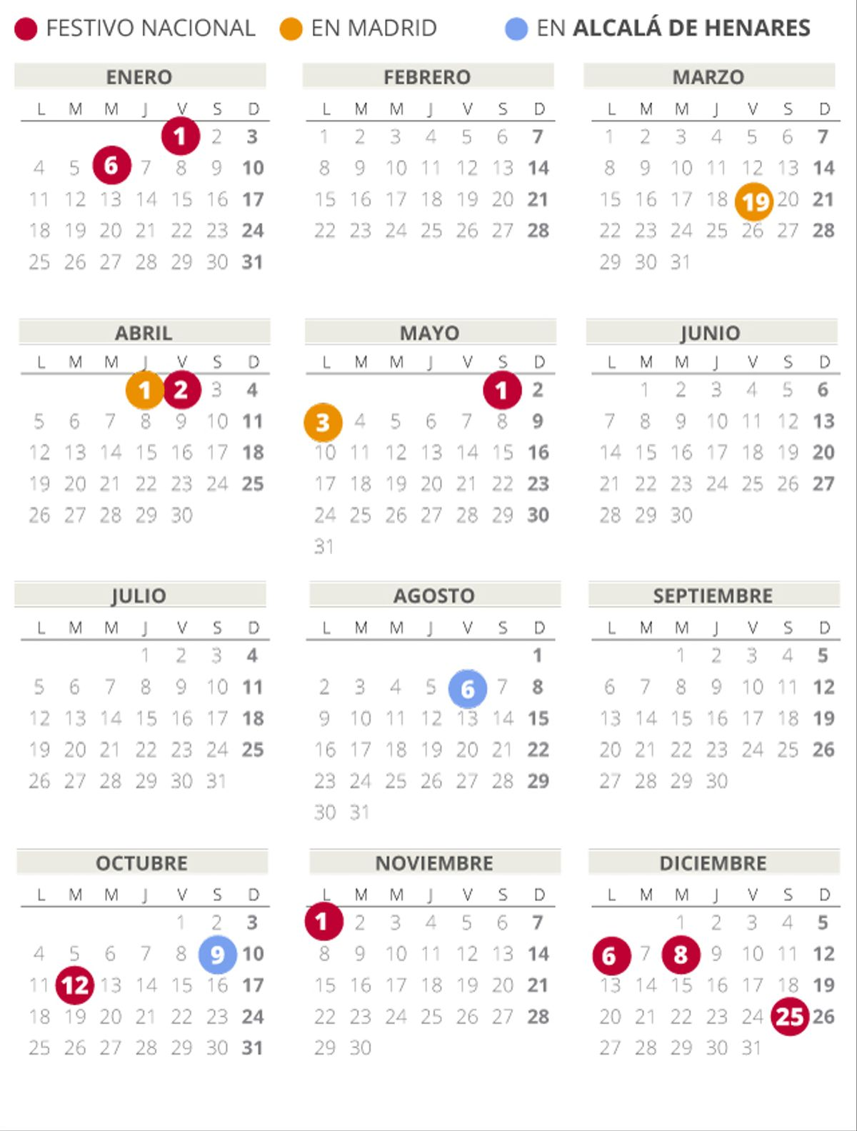 Calendario laboral de Alcala de Henares del 2021.