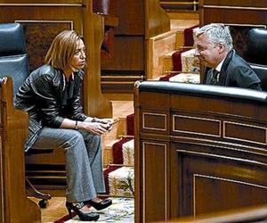 MinistrosChacón y Blanco, ayer en el Congreso.