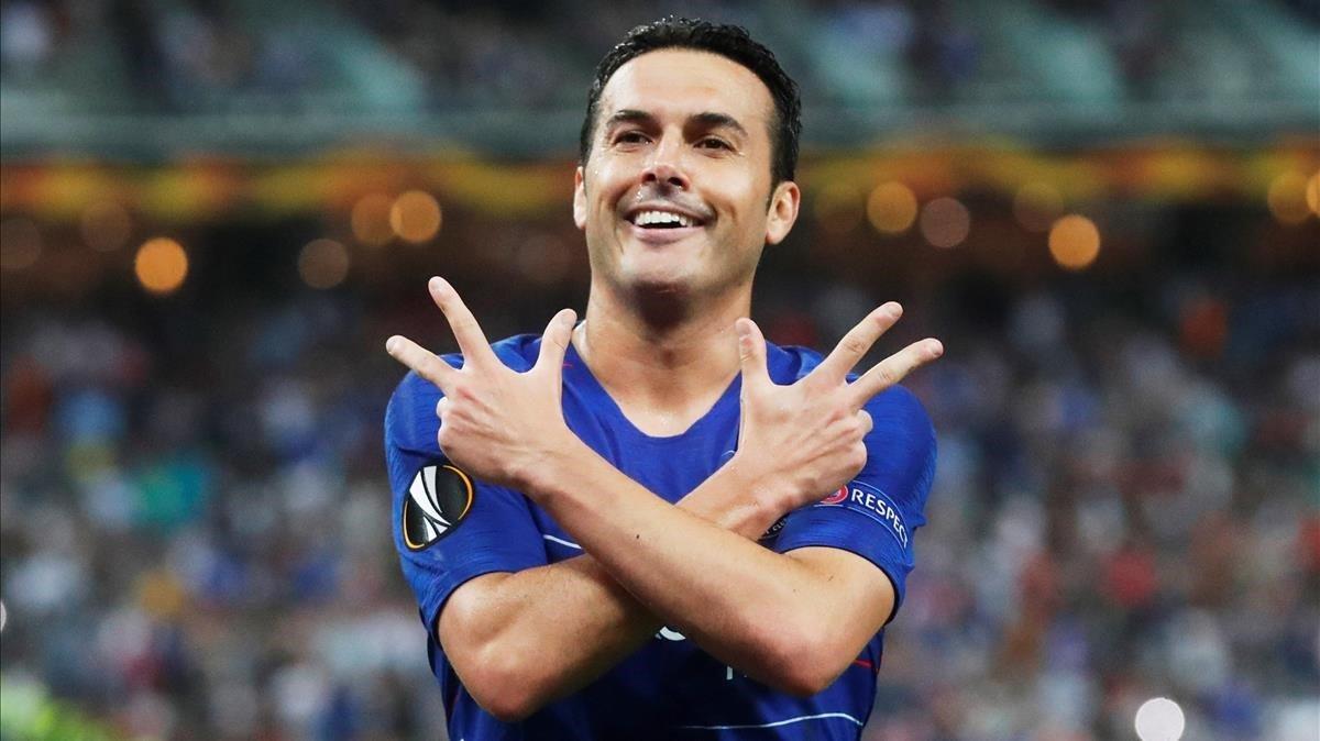 Pedro Rodríguez celebra un gol marcado al Arsenal en la final de la Liga Europa del 2019 jugada en Bakú (Azerbayán).