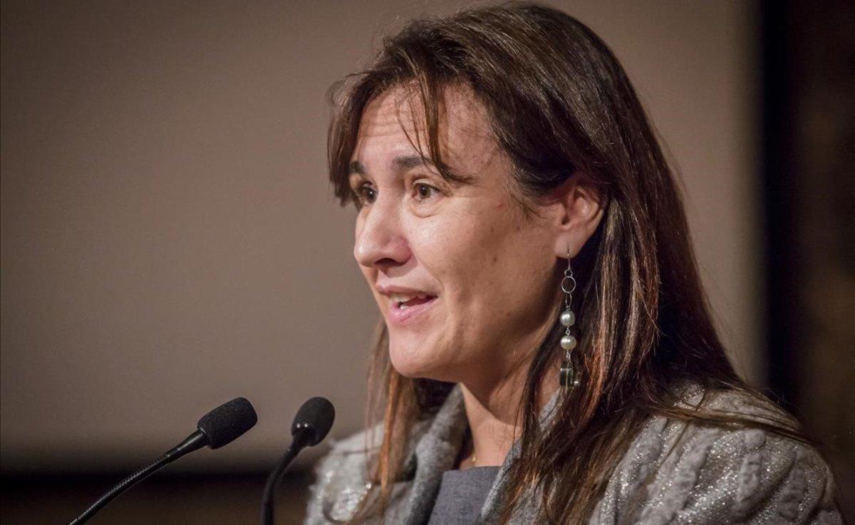 Laura Borràs, en la entrega de Premios Lluís Carulla en el Convent dels Àngels.