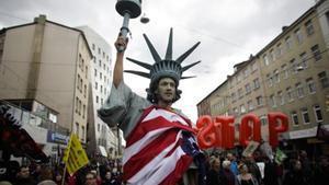Manifestación contra el TTIP en Hannóver, con motivo de la visita de Barack Obama a la ciudad alemana, el pasado 23 de abril.