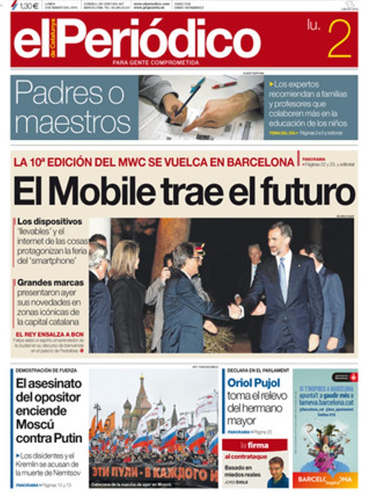 La portada de EL PERIÓDICO (2-3-2014).