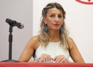 La vicepresidenta segunda, Yolanda Díaz, en los cursos de verano de la UCM en San Lorenzo de El Escorial