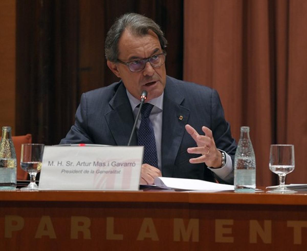 Artur Mas, durante su comparecencia en el Parlament, el pasado miércoles, 2 de septiembre, sobre la convocatoria anticipada de elecciones y el 'caso 3%'.