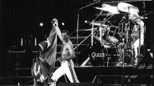 Freddy Mercury, con Queen, en Barcelona, en 1986.