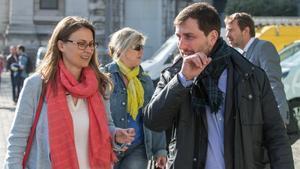 Los 'exconsellers' Meritxell Serret y Toni Comín, el pasado abril, en Bruselas.