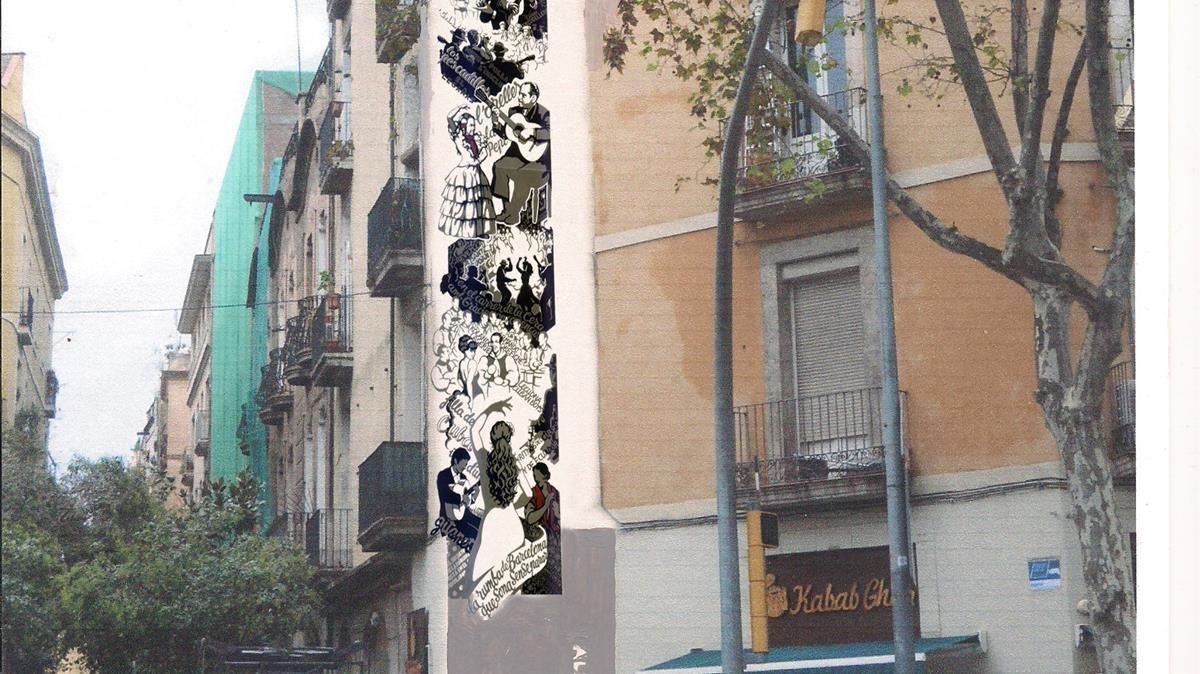 Imagen de cómo quedará una de las plazas de homenaje a la rumba en la calle de la Cera.