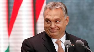 El primer ministro húngaro, Viktor Orbán, durante un discurso frente a la Casa del Terror en Budapest.