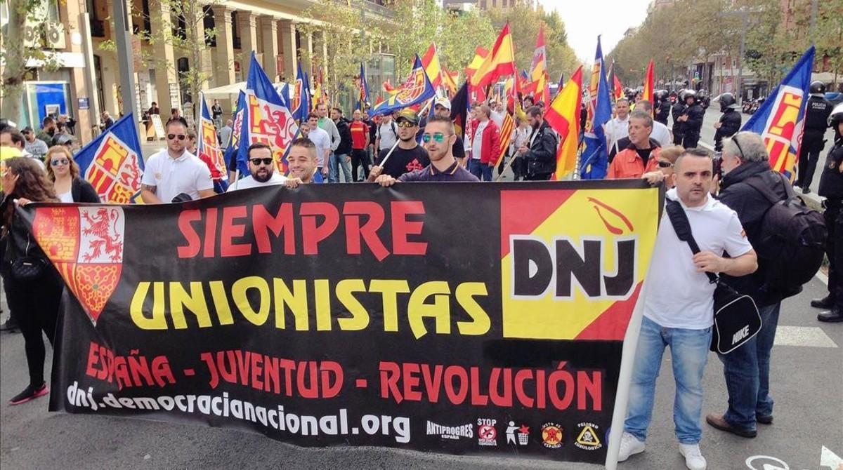 Manifestación fascista del 12 de octubre en Barcelona.