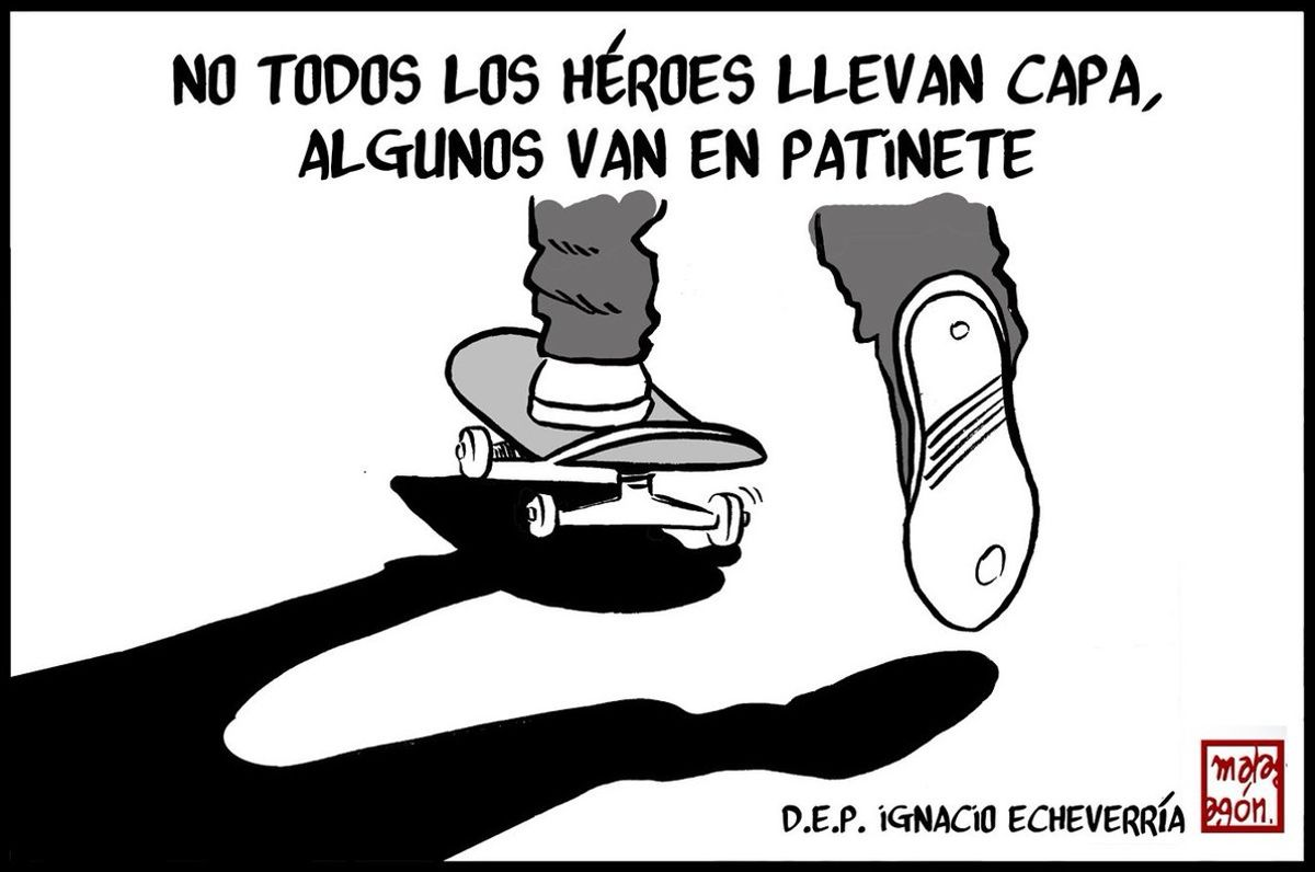 Viñeta del dibujante Malagón con que homenajea el heroísmo de Echeverría.