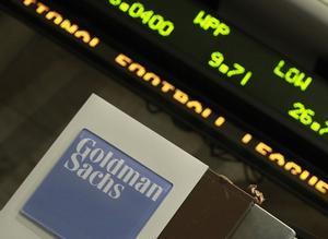 Una etiqueta de Goldman Sachs, en la Bolsa de Nueva York.