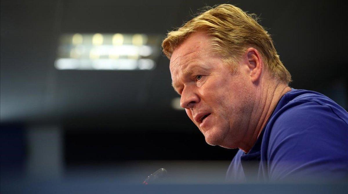 Koeman, en la conferencia de prensa telemática que ofreció antes del duelo con el Atlético.