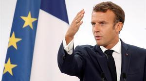 El presidente francés, Emmanuel Macron, durante un discurso en el Elíseo, el pasado agosto.