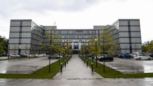 Picture taken on May 25, 2021 shows the headquarters of Germany's largest housing group Vonovia in Bochum, western Germany. - Germany's top property group Vonovia announced on May 25, 2021 plans for a 19-billion euro merger with rival Deutsche Wohnen to form a giant in the sector. (Photo by Ina FASSBENDER / AFP)
