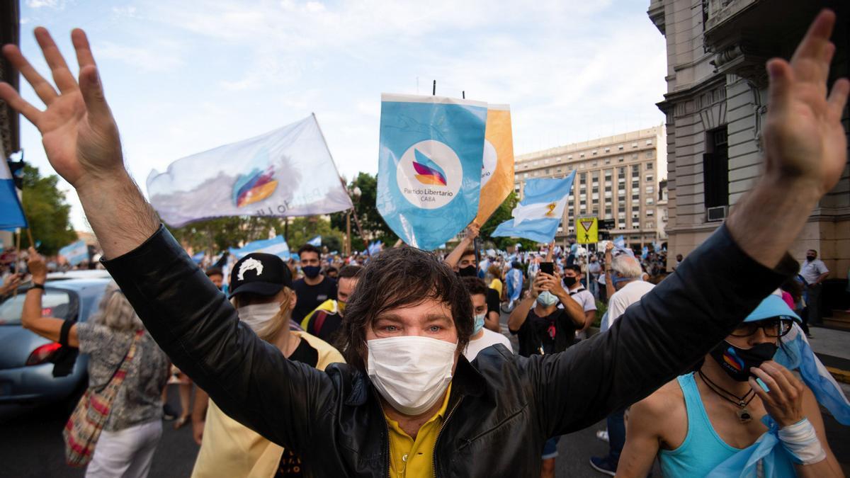 El líder ultraderechista argentino Javier Milei, en una manifestación contra el Gobierno del presidente Alberto Fernández.