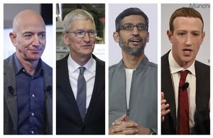 De izquierda a derecha, Jeff Bezos (Amazon), Tim Cook (Apple), Sundar Pichai (Google) y Mark Zuckerberg (Facebook).