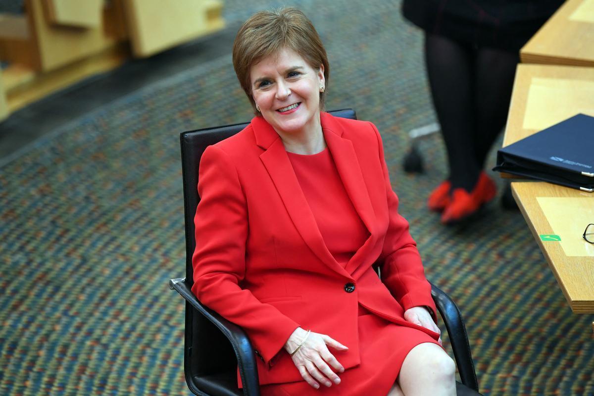 La ministra principal de Escocia, Nicola Sturgeon , el pasado jueves en el Parlamento de escocés, en Edimburgo.