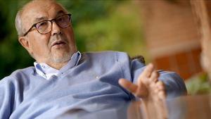 Pedro Solbes, durante su conversación con este diario sobre la peseta.