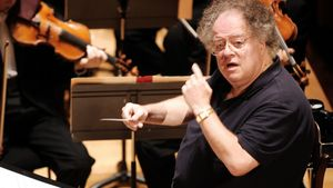 (FILES) This file photo taken on September 04, 2007 shows US conductor James Levine and the Boston Symphony Orchestra performing Hector Berlioz's Damnation of Faust during a rehearsal at the Salle Pleyel in Paris.