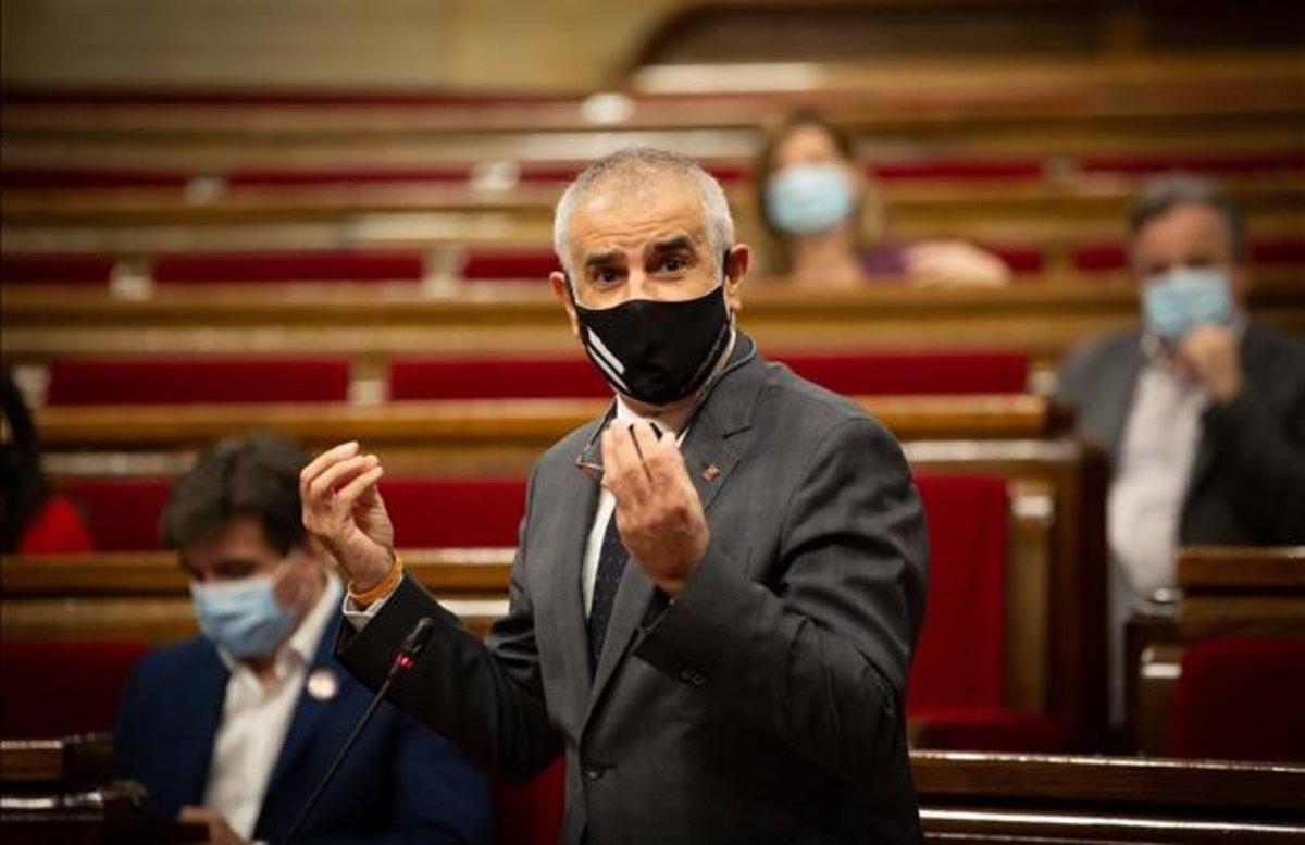 El jefe de la oposición y líder de Cs, Carlos Carrizosa, este miércoles en el Parlament.