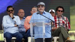 El líder de las FARC, Rodrigo Londoño, aliasTimochenko, durante un acto el pasado 2 de julio en Buenavista,Colombia.