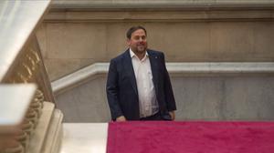 El 'vicepresident' del Govern, Oriol Junqueras, en el Parlament.