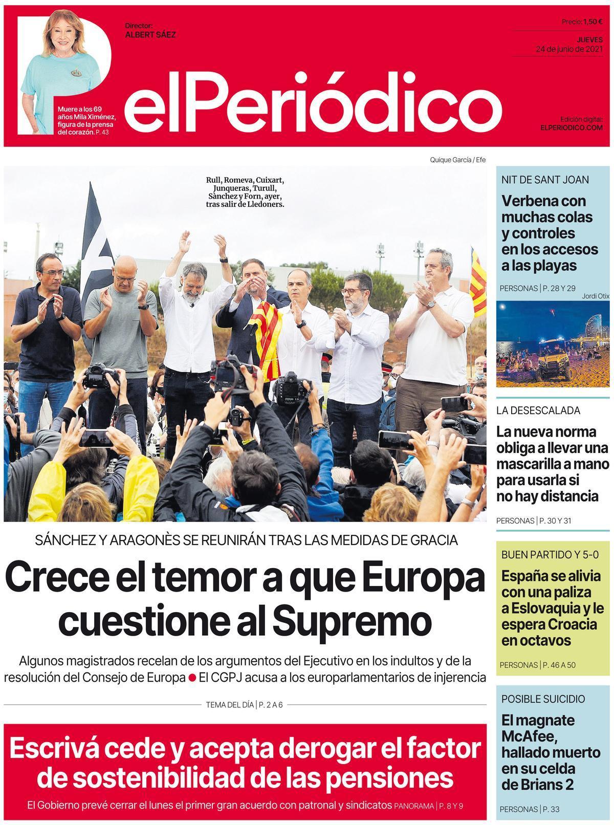 La portada de EL PERIÓDICO del 24 de junio de 2021