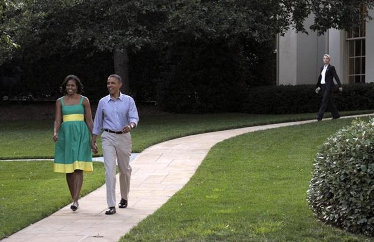 Barack Obama y su esposa Michelle, este miércoles en la Casa Blanca