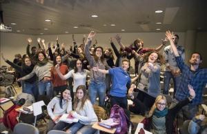 Alumnos de primer curso del grado de Gestiones Creativas de la facultad de Educación de la Universitat de Lleida (UdL).