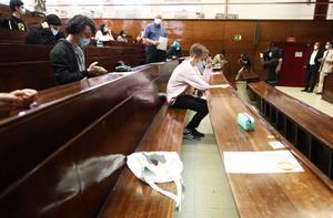 Un examen de selectividad en la Universidad Complutense de Madrid el 8 de septiembre de 2020.