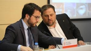 Pere Aragones y Oriol Junqueras, en una imagen de archivo