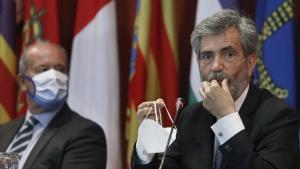 El ministro de Justicia, Juan Carlos Campo, y el presidente del CGPJ y el Supremo, Carlos Lesmes, a finales de septiembre en Barcelona.