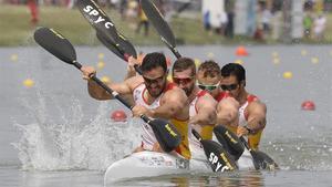 Craviotto, Arevalo, Walz y Germade, el equipo español de K4 500 que consiguieron la plata en los Mundiales.