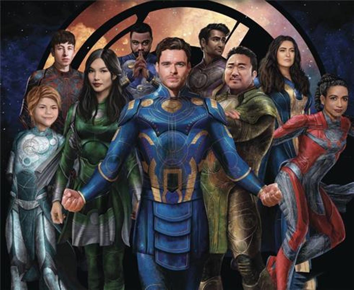'Eternals', en la que Brian Tyree Henry (detrás, el segundo por la izquierda) interpreta al primer superhéroe abiertamente gay.