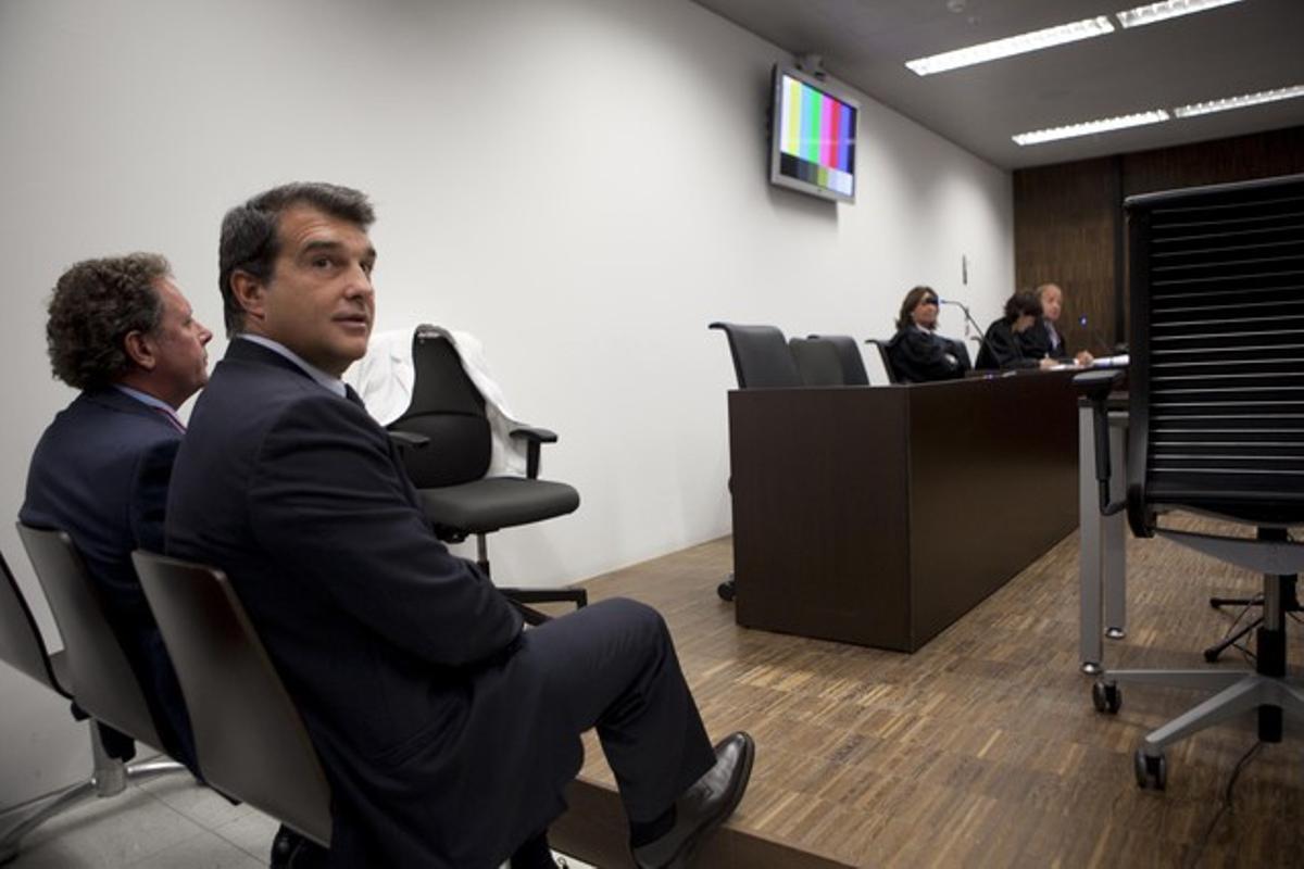 Joan Laporta, el día en que declaró sobre el caso en la Ciutat de la Justícia, el pasado 10 de octubre.