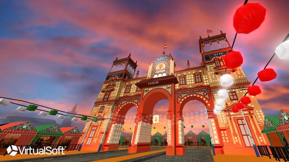 Recreación de la portada de la Feria de Abril para la aplicación que invita a recorrer de forma virtual el recinto.