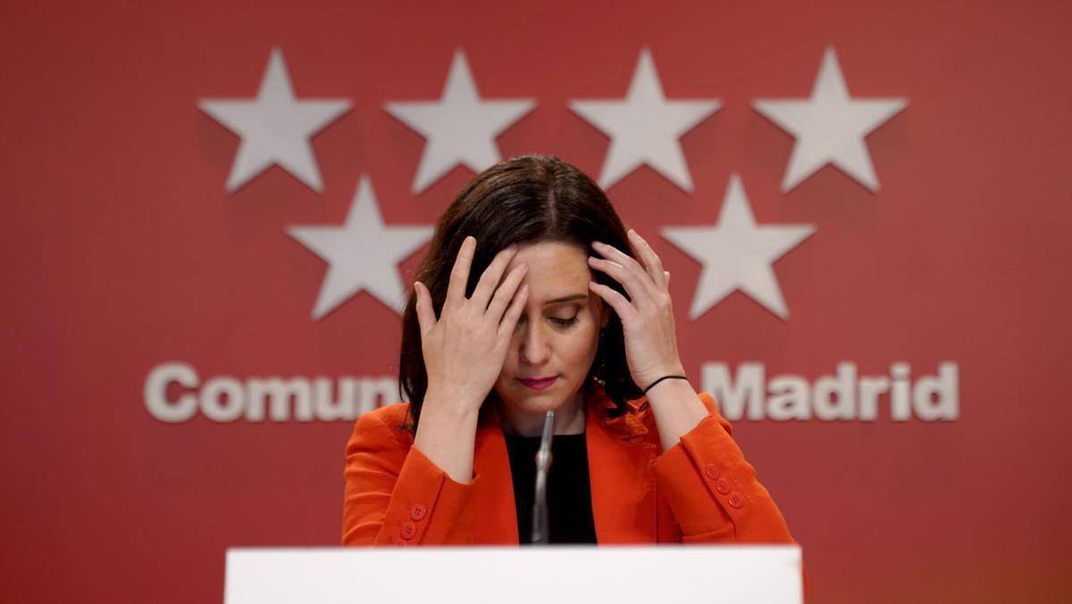 Isabel Díaz Ayuso, presidenta de la Comunidad de Madrid, durante una rueda de prensa.