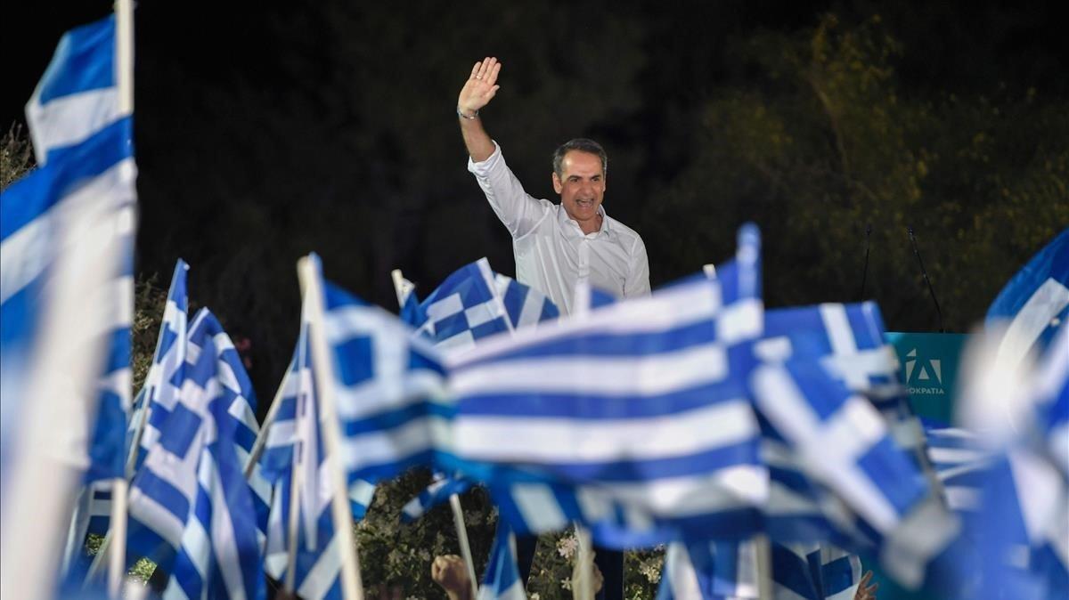 Kyriakos Mitsotakis, durante un mitin de campaña.