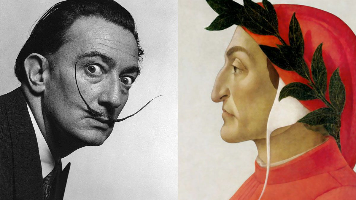 Dalí frente a una pintura de Dante.