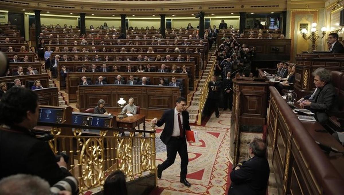 Pedro Sánchez, durante el debate de investidura en el Congreso de los Diputados.