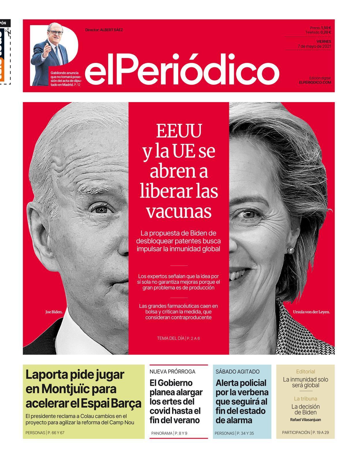 La portada de EL PERIÓDICO del 7 de mayo de 2021