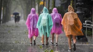Varios paseantes se protegen de la lluvia caminando por Diagonal, en Barcelona,  en 2019.