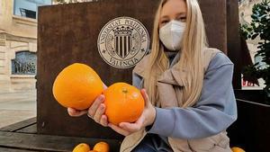Karina Santamaría, creadora del proyecto para reutilizar los residuos de las naranjas.