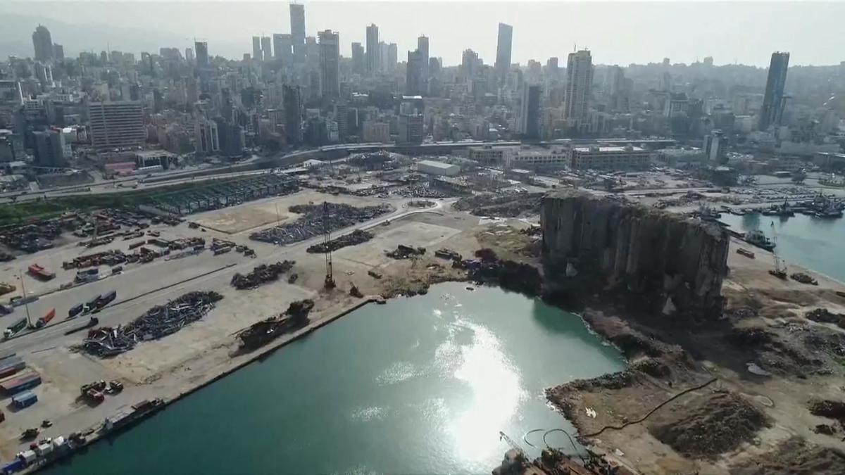 Así está el puerto de Beirut seis meses después de la explosión.